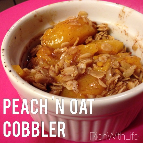 Peach n' oat cobbler - Healthy dessert option for gluten free, dairy free, and sugar free eaters!
