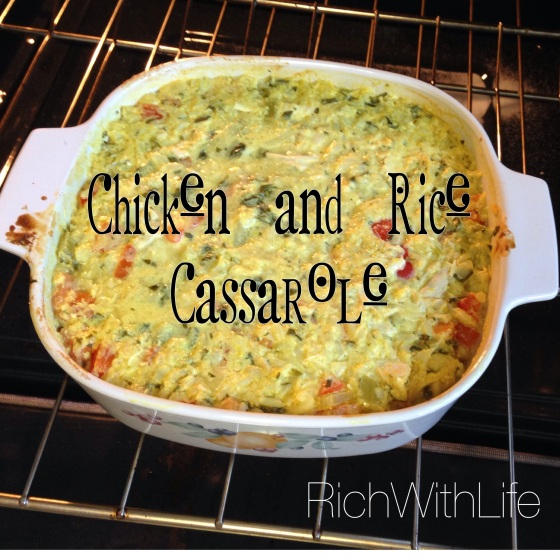 Chicken and Rice Cassarole Gluten Free Dairy Free and yummy!