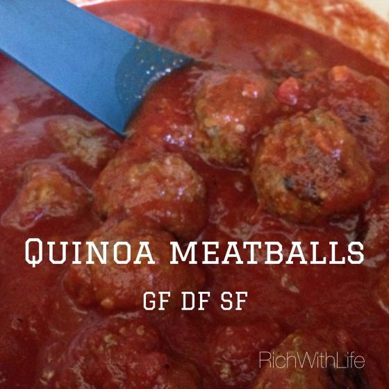 Quinoa Meatballs Gluten, Dairy, Sugar Free